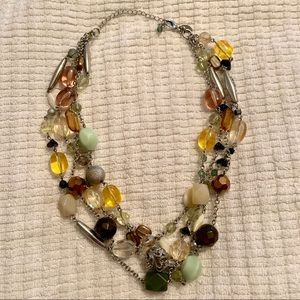 Four Strand, Green, Brown, Yellow Beaded Necklace